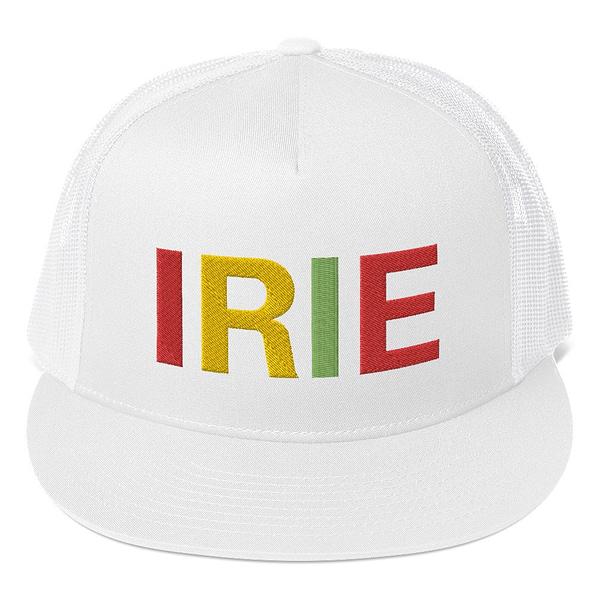 Irie Rasta trucker cap white classic style with a cool fabric blend. Original Rasta Gear Shop Jamaican Reggae and Rastafarian Designs on clothing and merchandise.