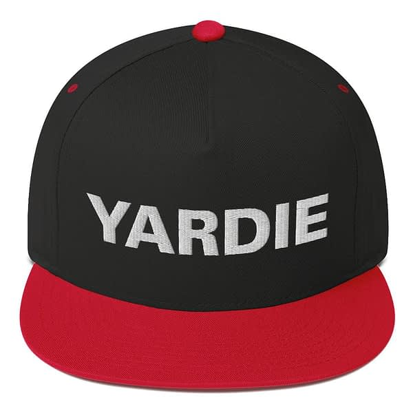 Yardie flat bill cap in black and red. Jamaican Rasta Reggae Stylee. Quality Jamaican and Reggae merchandise available through Rastagearshop.com