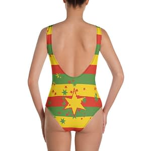 Rasta Swimsuit One Piece Stars and Stripes Design in rasta colors. Jamaican Reggae Rastafarian clothing at Rasta Gear Shop