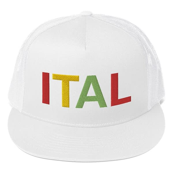 Ital Rasta trucker cap in white with a cool fabric blend. Embroidered in the rasta colors for a classic rasta hat.