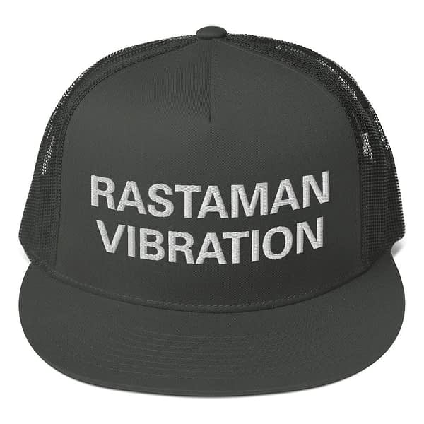 Rastaman Vibration trucker cap style with a cool fabric blend. Rasta Gear Shop Original Rastafarian Reggae and Jamaican Designs on Clothing and Merchandise.
