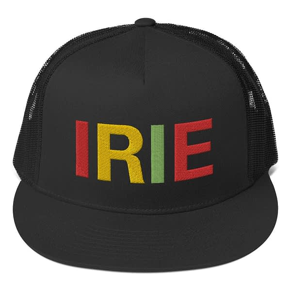 Irie Rasta trucker cap classic style with a cool fabric blend. Original Rasta Gear Shop Jamaican Reggae and Rastafarian Designs on clothing and merchandise.