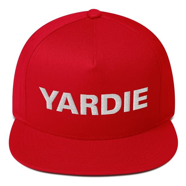 Yardie flat bill cap in red. Jamaican Rasta Reggae Stylee. Quality Jamaican and Reggae merchandise available through Rastagearshop.com