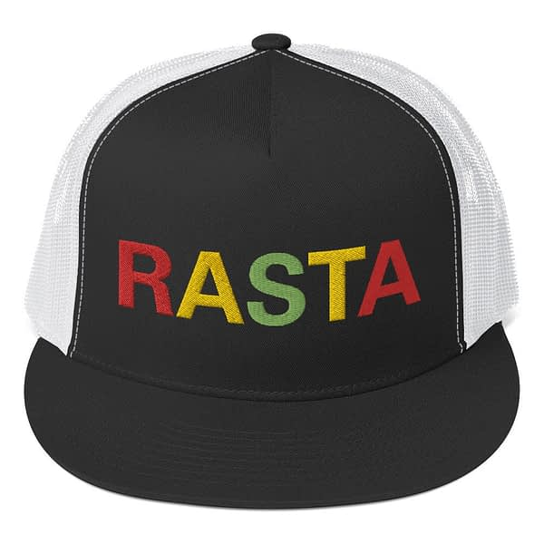 Rasta trucker cap in black and white. Classic style with a cool fabric blend. Rastagearshop original design embroidered in the rasta colors.