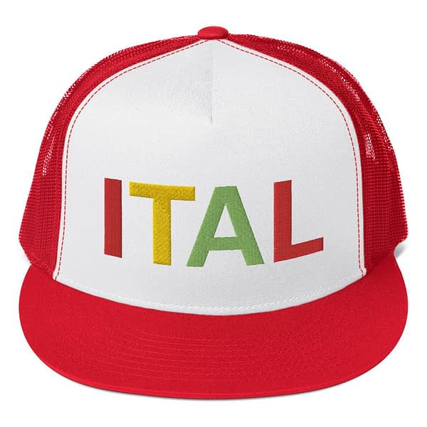 Ital Rasta trucker cap in red and white with a cool fabric blend. Embroidered in the rasta colors for a classic rasta hat.