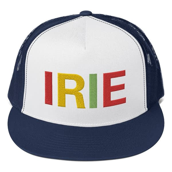 Irie Rasta trucker cap classic style navy blue and white with a cool fabric blend. Original Rasta Gear Shop Jamaican Reggae and Rastafarian Designs on clothing and merchandise.