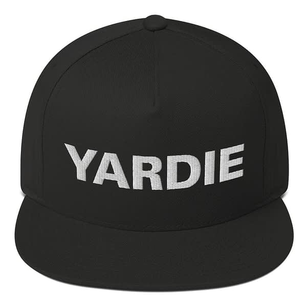 Yardie flat bill cap in black. Jamaican Rasta Reggae Stylee. Quality Jamaican and Reggae merchandise available through Rastagearshop.com