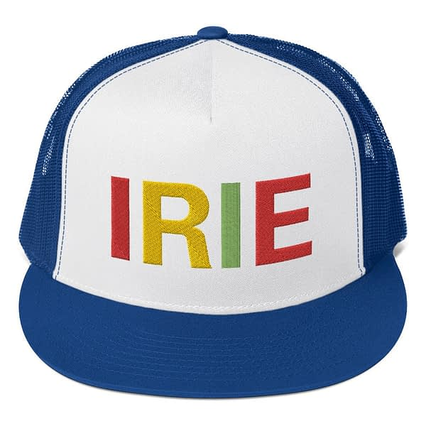 Irie Rasta trucker cap classic style blue and white with a cool fabric blend. Original Rasta Gear Shop Jamaican Reggae and Rastafarian Designs on clothing and merchandise.