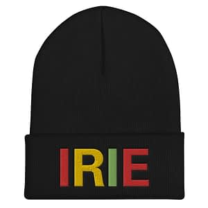 Irie Rasta cuffed beanie in black with embroidered irie slogan in rasta colors. A snug, form-fitting beanie. Reggae and Jamaican Rasta hat.
