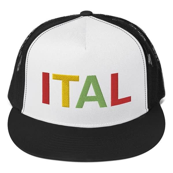 Ital Rasta trucker cap in black and white with a cool fabric blend. Embroidered in the rasta colors for a classic rasta hat.