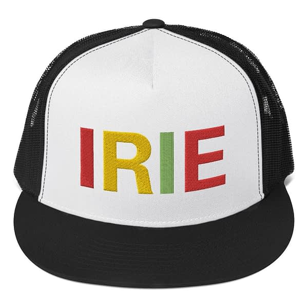 Irie Rasta trucker cap classic style black and white with a cool fabric blend. Original Rasta Gear Shop Jamaican Reggae and Rastafarian Designs on clothing and merchandise.