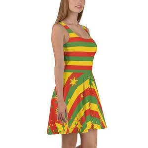 Rasta Reggae Stars and Stripes Skater Dress. Jamaican Reggae Rastafarian clothing at Rasta Gear Shop