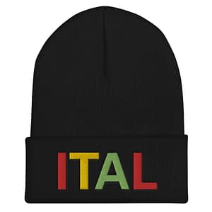 Ital Rasta cuffed beanie in black. This reggae beanie. It's not only a great head-warming piece but a staple accessory in anyone's wardrobe.