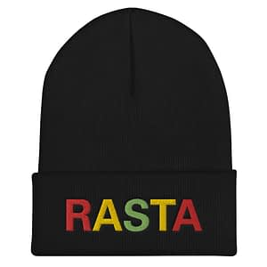 Rasta Cuffed Beanie in black. A snug, form-fitting reggae beanie. Rastagearshop original design embroidered in the reggae colors.