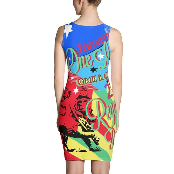 One Love Reggae Party Rasta Bodycon Dress in vibrant colors at Rasta Gear Shop