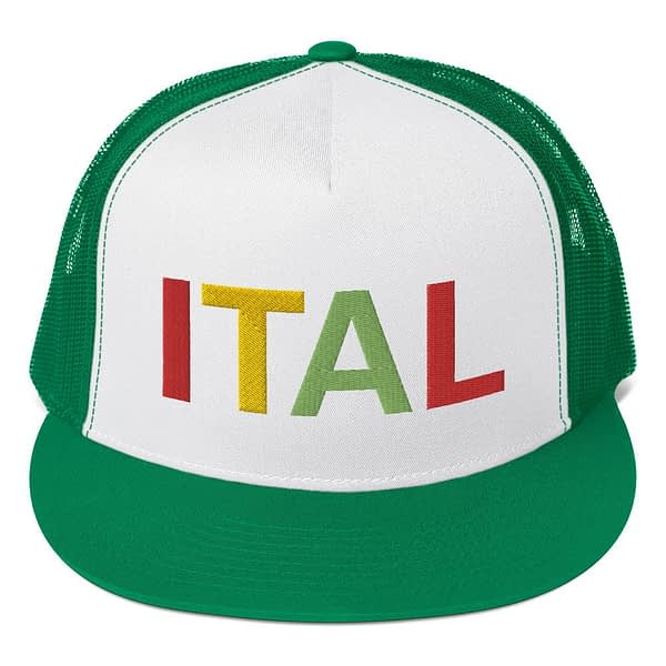 Ital Rasta trucker cap in green and white with a cool fabric blend. Embroidered in the rasta colors for a classic rasta hat.
