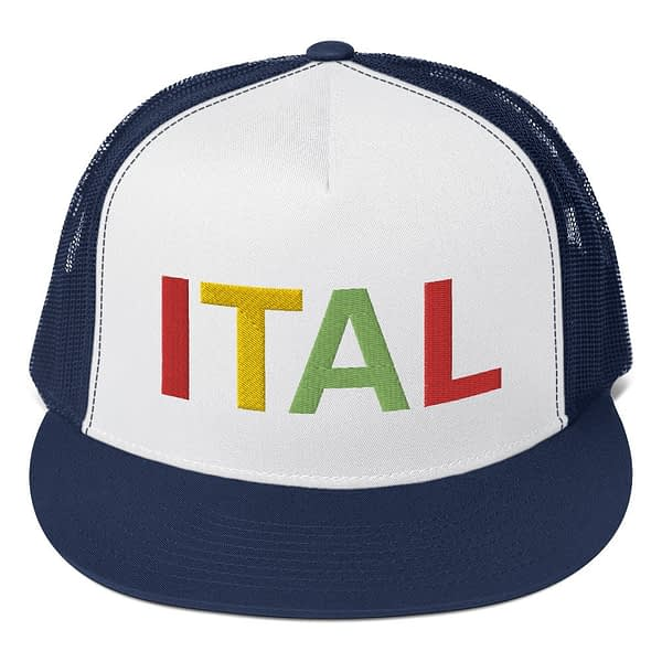 Ital Rasta trucker cap in navy and white with a cool fabric blend. Embroidered in the rasta colors for a classic rasta hat.