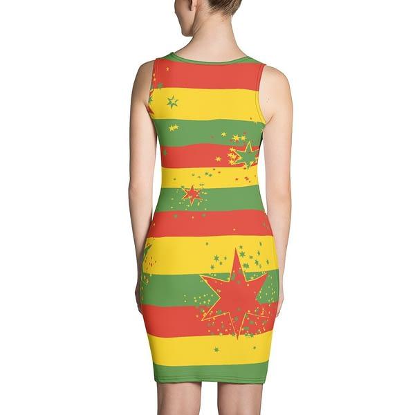 Rasta Reggae Stars and Stripes Bodycon Sexy Dress. Jamaican Reggae Rastafarian clothing at Rasta Gear Shop