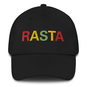 Rasta Dad hat in black. These reggae caps aren't just for dads. Original design embroidered in the Rasta Colors.
