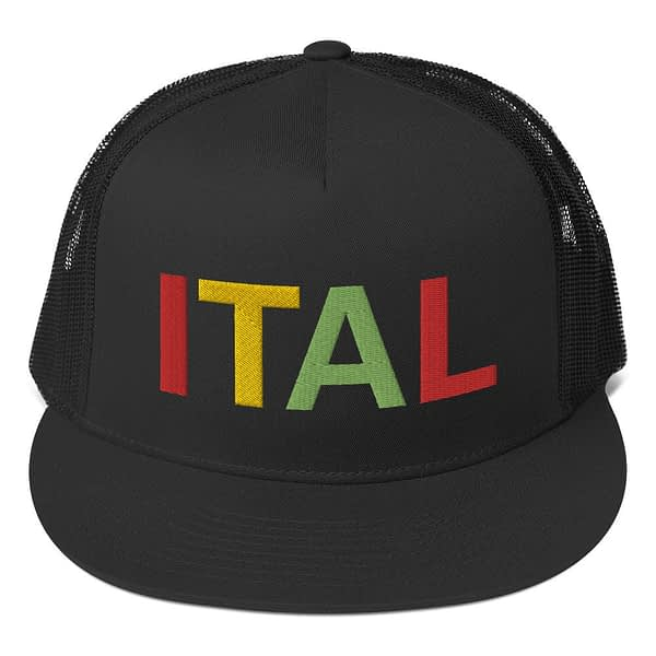 Ital Rasta trucker cap in black with a cool fabric blend. Embroidered in the rasta colors for a classic rasta hat.
