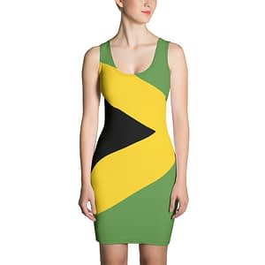 Jamaican Bodycon Dress . Make a statement and look fabulous in this all-over printed, fitted dress. Rasta Gear Shop Jamaican womens clothing and accessories.