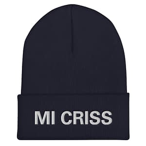 Mi Criss cuffed beanie in black. Embroidered Jamaican Patois letter. A snug, form-fitting beanie. It's not only a great head-warming piece but a staple accessory in anyone's wardrobe. Rasta Gear Shop quality Jamaican Merchandise, Hats and Clothing.