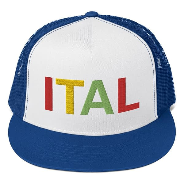 Ital Rasta trucker cap in blue and white with a cool fabric blend. Embroidered in the rasta colors for a classic rasta hat.
